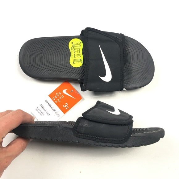 6eacd688f60  30 Nike Black Kawa Adjust Kids Sandals 3Y C37